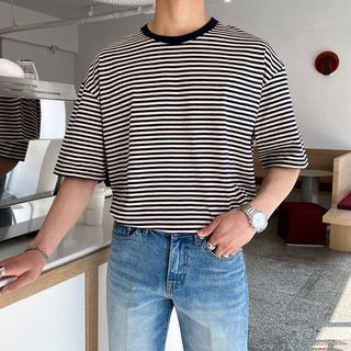 Seoul Homme - Elbow-Sleeve Striped T-Shirt
