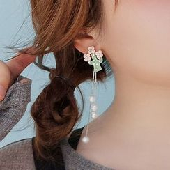 Bmuse - 不對稱仿珍珠合金花朵流蘇耳環