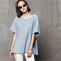 HALUMAYBE - Lace-Trim Button-Back Linen Blouse
