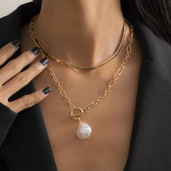 Seirios - Set of 2: Layered Faux Pearl Chain Necklace