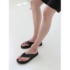 PLAYS(プレイズ) - Faux-Leather Plain Flip-Flops