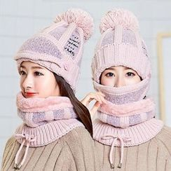 FROME - Set: Pom Pom Lettering Knit Beanie + Mask + Neck Warmer