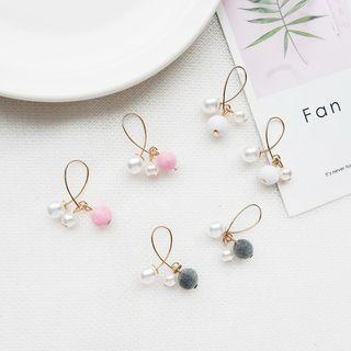 Jasminte - Faux Pearl Pom Pom Earrings