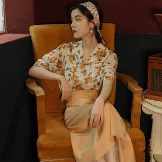 Flonso - Short-Sleeve Floral Print Shirt / Midi A-Line Shirtdress / Midi A-Line Skirt / Set