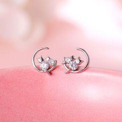 BURMASTIN - 925 Sterling Silver Rhinestone Moon & Cat Earring