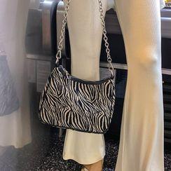 LIPHOP - Chain-Strap Zebra-Pattern Shoulder Bag