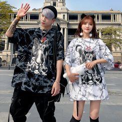 Mista Koko - Couple Matching Cat Print Elbow-Sleeve T-Shirt