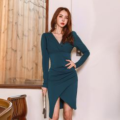 Elmiko - Long-Sleeve Asymmetrical Sheath Dress