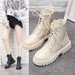 Putcho - Faux Leather Lace-Up Platform Ankle Boots