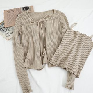 Miss Puff - Set: Knit Cardigan + Camisole Top