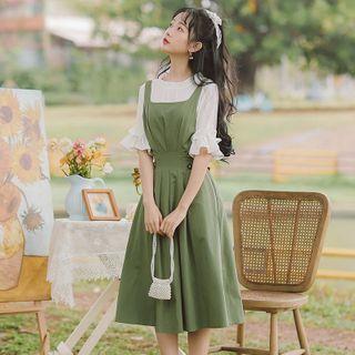 sansweet - 中袖衬衫 / 背带A字连衣中裙 / 套装