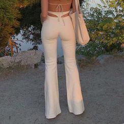 Dictynna - Cutout Boot-Cut Pants