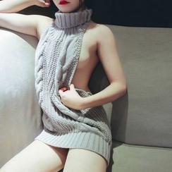 Momilove - Reversible Turtleneck Knit Sweater