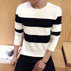 Alvicio - Contrast Color Long-Sleeved T-Shirt