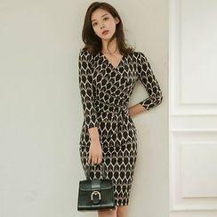 Hasu - 图案长袖塑身连衣裙