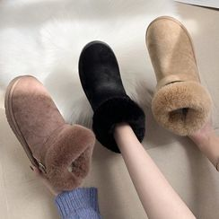 Weiya - Furry Trim Short Boots