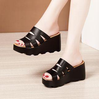 Hannah - Platform Wedge Slide Sandals