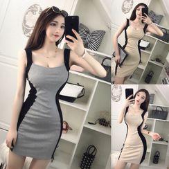 Tidel - Color Block Strappy Mini Sheath Dress