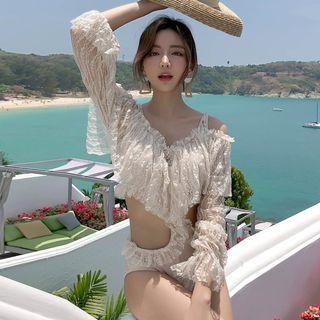 Tefiti - Long-Sleeve Cold Shoulder Ruffled Lace Cutout Swimsuit