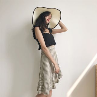 ever after - Ruffled-Trim Crop Top / Checked Mermaid Skirt