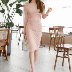 Oscuro - Long-Sleeve Plain Sheath Dress