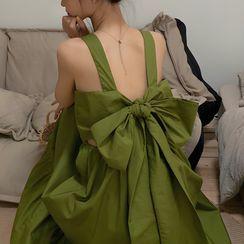 Moon City - Ribbon Sleeveless Tiered Midi A-Line Dress
