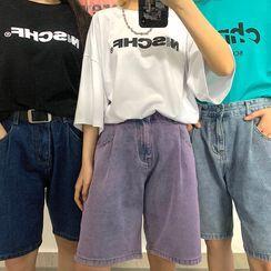 Porstina - High-Waist Straight-Cut Denim Shorts