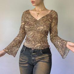Honet - Long-Sleeve Print V-Neck Ruffled Shirt