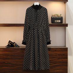 Sugar Town - Long-Sleeve Dotted Midi A-Line Dress
