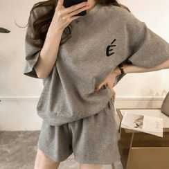 Lomond - Set: Elbow-Sleeve Lettering T-Shirt + Sweatshorts
