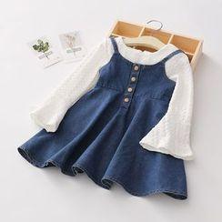 Seashells Kids - Kids Set: Bell-Sleeve Blouse + Spaghetti Strap A-Line Denim Dress