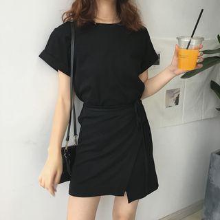 monroll - 纯色短袖T恤裙