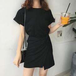 monroll - Tie-Sash T-Shirt Dress