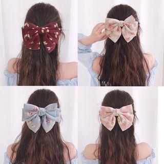 Reiro - Printed Chiffon Bow Hair Clip
