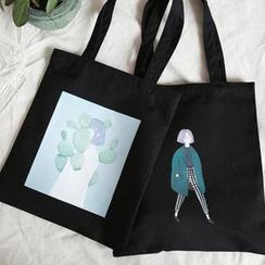 TangTangBags - Girl Print Zipper Tote Bag