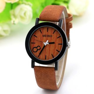 MODIYA - 木制印花仿皮带式手表