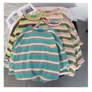 MIKAEL - Elbow-Sleeve Striped T-Shirt