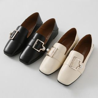 HOTPING - Square-Toe Foldable Buckle Loafers