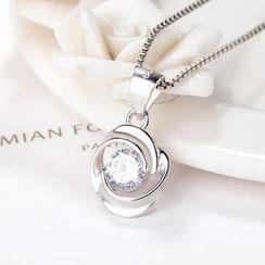 JZ Concept - Silver Rhinestone Flower Pendant Necklace