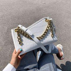 Anadelta - Croc Grain Chain Shoulder Bag