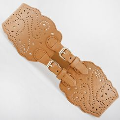 Goldenrod - Perforated Elastic Double Buckle Belt