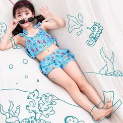 Atrov - Kids Set: Ribbon Cartoon Print ed Swim Top + Swim Skirt