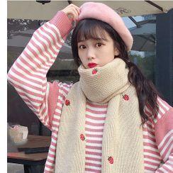 Whoosh - 草莓刺绣针织围巾