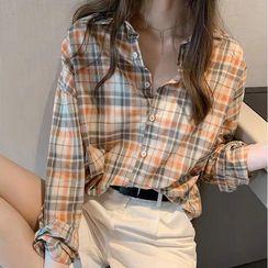 Puntino - Long-Sleeve Plaid Shirt / Camisole Top
