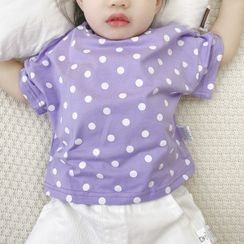 MOM Kiss - Kids Dotted Elbow-Sleeve T-Shirt