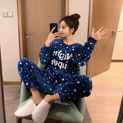 Endormi - Pajama Set: Star Print Lettering Pullover + Pants