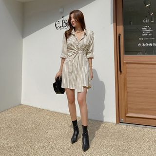 DABAGIRL - Self-Tie Striped Mini Shirtdress