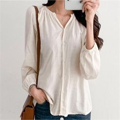 PIPPIN - Open-Placket Shirred Blouse