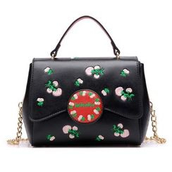 BeiBaoBao - Faux-Leather Embroidered Satchel