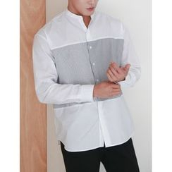 STYLEMAN - Mandarin-Collar Striped-Panel Shirt